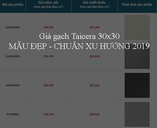 Bảng báo giá gạch Taicera 30×30 MẪU ĐẸP – Chuẩn xu hướng 2019