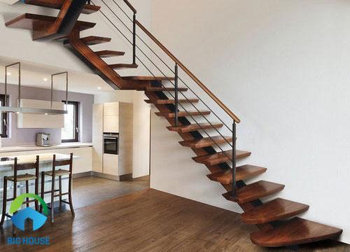 mẫu cầu thang gỗ tinh tế