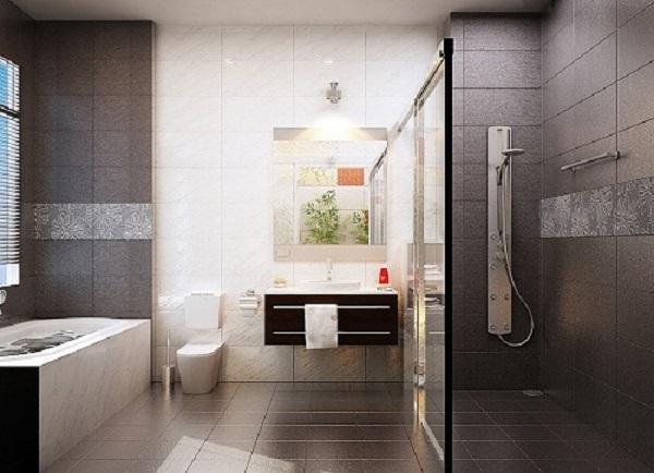 Gạch lát nền nhà vệ sinh màu nâu phù hợp với những gia chủ mệnh Thổ và Kim