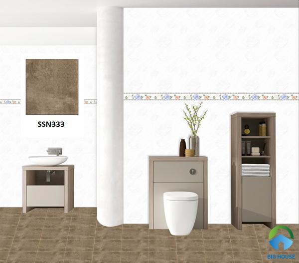 Mẫu gạch lát nền Ý Mỹ SSN333 luôn nằm trong top mẫu gạch màu nâu lát WC bán chạy nhất hiện nay
