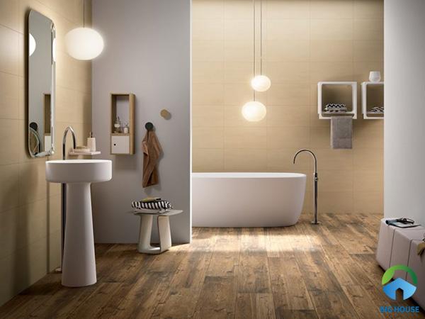 Không gian phòng tắm đẹp thanh lịch với cách phối gạch theo tông nâu - vàng
